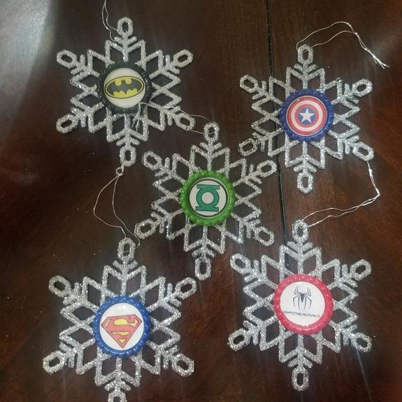 Superhero Bottle Cap Snowflake Ornaments